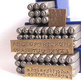 Piccadilly font stamps, 3 mm upper cases and lower case, with numbers, steel letter alphabet - Romazone