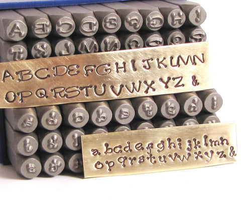 Piccadilly font stamps, 3 mm  upper cases and lower case, metal stamp set, steel letter alphabet - Romazone