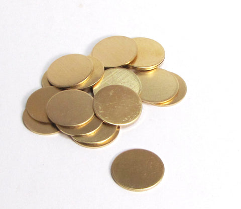 Red Brass discs, 20 pack,  3/4 inch, 22 gauge, Red BRASS blanks, hand stamping gold - Romazone