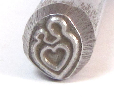 mother child heart, steel stamp, USA made,  8 mm x 7 mm, metal stamping - Romazone