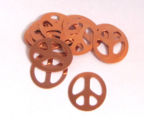 "Copper Peace signs, 24 gauge, 10 pack, oval peace sign, pendant size, peace pendant, Fun for stamping, 1 1/4 "" x 1 "" - Romazone"
