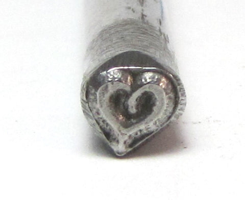Bold Sassy heart, smaller size, 4.5x4.5mm, metal stamping, USA made - Romazone