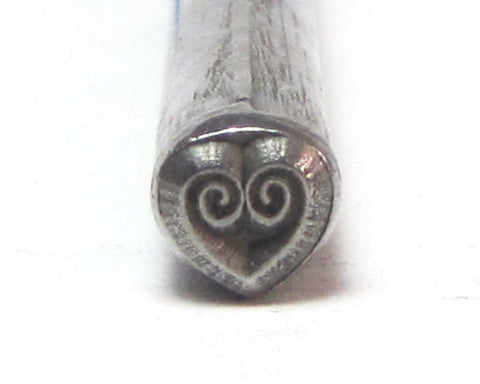 Coil Heart Design Stamp for silver jewelry stamping 5.5 x 5.5 mm - Romazone