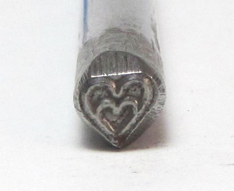 Heart in Heart design stamp for jewelry name stamping aprox 5x5mm - Romazone