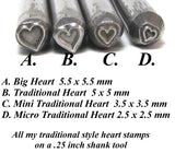 Traditional Heart, steel stamp, 5x5 mm, USA made, metal stamping - Romazone