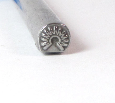 Native American 6, Design stamp, USA made, 5 x 5 mm, tribal jewelry, headdress design, Southwest silver - Romazone