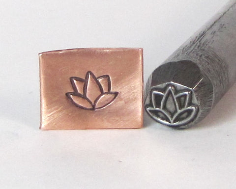 Lotus Flower,Steel stamp, Meditation flower, Yoga jewelry, metal stamping, 5 x 4mm - Romazone
