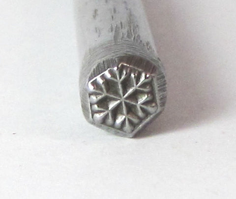 Snow Flake Winter Ice Design Stamp for charm stamping and silver working 5x5mm - Romazone