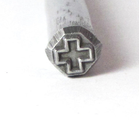 Cross southwest -  design stamp for silver charms pendants earrings 5x5mm - Romazone