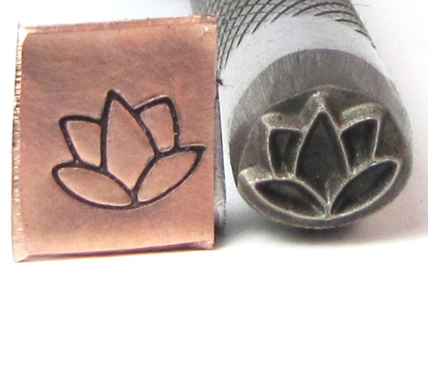 Lotus FLower 8 x  mm design stamp professional grade  with you in mind for stainless. - Romazone