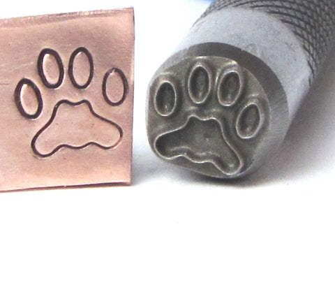 Large Dog paw, 8 x 7 mm, design stamp, professional grade, USA made, for stainless - Romazone