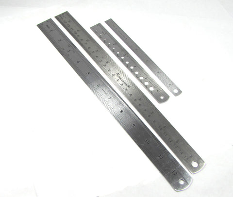 4 Stainless steel Inch and millimeter rulers pack plus zero center rule and drill bite sizer - Romazone