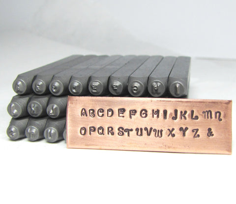 KissyFace font, 2 mm upper case, letter stamps, metal stamping - Romazone