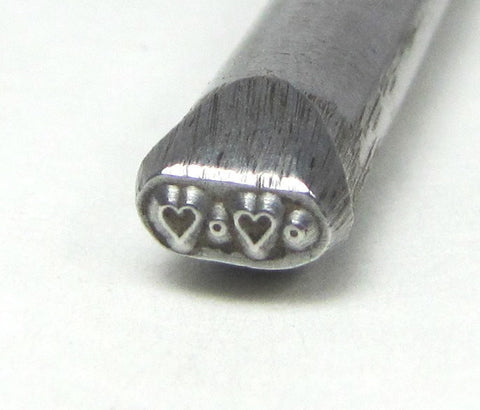 micro heart dot, border steel Design stamp  3mm x 5, for jewelry stamping - Romazone