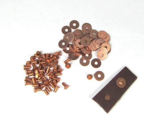 copper rivets, with washers, 200 pack, 3/32 x 3/16, leather fastening, Flat head
