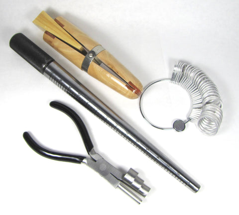Pro Ring Making tool kit, Steel ring mandrel, Ring coiling pliers, Wood ring clamp, aluminum finger size gauge - Romazone