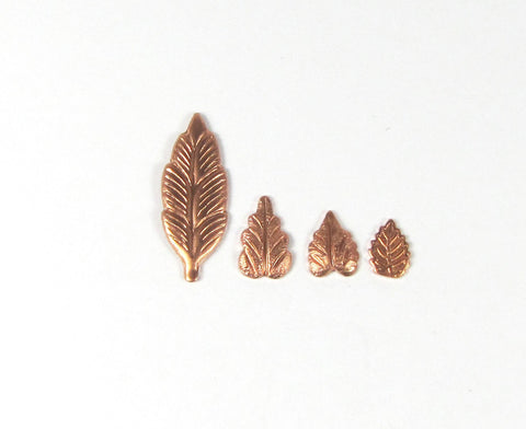 copper leaf element, Feather element,  21 mm x 7 mm, 15 pack, has a slight curve - Romazone