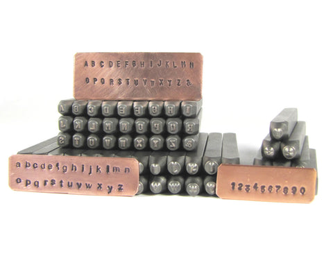 Steel letters 2 mm, Arial both upper and lower case, sets with numbers hand stamping tools - Romazone