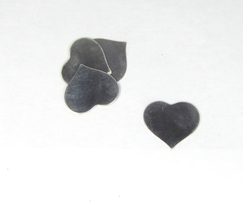 Sterling heart blank, 1 x 1 inch, 22 gauge,  for pendants, earrings, charms, hand stamping blank - Romazone
