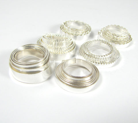 Bezel Wire, Variety Pack, for cabochons, 3/16 and 1/8 ,fine silver 999, 1 ft of each, total 6 feet, plain, serrated, scalloped - Romazone