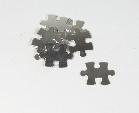 Puzzle piece, 22 gauge sterling, 20mm x 16mm  3 pack, for stamping, earrings, pendants charms - Romazone
