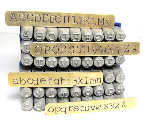 Large steel Letters, Typewriter news print, 6 mm alphabet, upper case, lower case, Metal leather stamping - Romazone