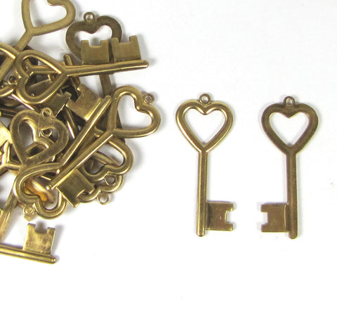 Brass Heart key set of 12, 1 5/8 inch x 5/8 stamp Initials on the key I used a 2mm letter for the example - Romazone