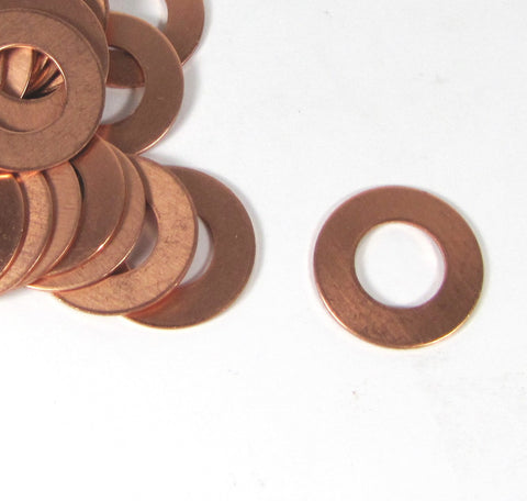 copper washers, 25 pack, 18 gauge, USA made, 1 inch size, with 1/4 rim - Romazone