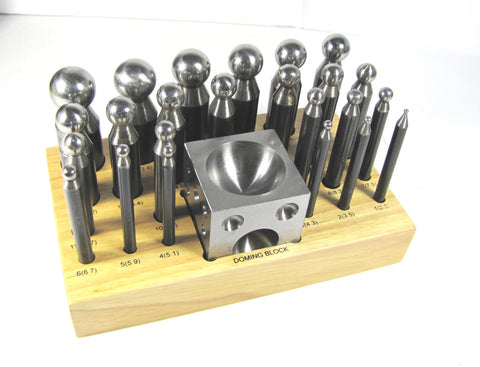 Doming set, carbon steel, 26 piece, dapping , 24 steel dome punches, doming block with wood stand - Romazone