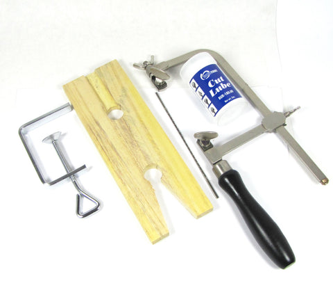 Jewelrs saw combo, Wood bench pin, German style, adjustable saw frame, blades and blade lube - Romazone