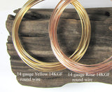 Rose Gold filled, yellow Gold filled, 14 gauge, round wire, adjustable bracelet, bangle wire, stack ring wire, per foot - Romazone