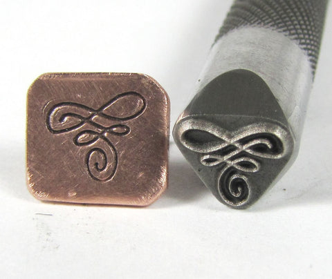 Fancy flourish, design stamp, 8x8 mm, metal stamping, for all metals - Romazone