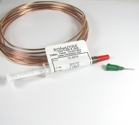 Rose Gold solder, 10K pink solder paste, rose solder paste, use with torch,  1 dwt tube, 1525 flow temp,  solder rose gold - Romazone