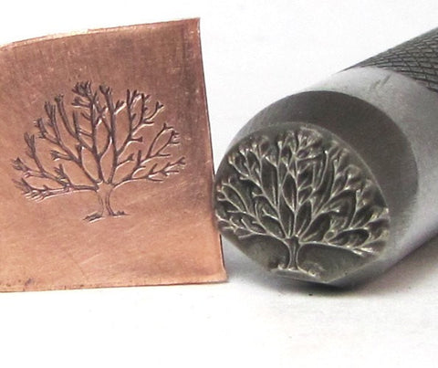 Tree of Life, Graphic stamp, 12x10mm,  Design Stamp, USA Made, for all metals - Romazone