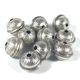 seamed beads, Sterling beads, oxidized beads, stamped tribal beads, 8 mm beads, 1.5 mm hole, 10 pack, naive style - Romazone