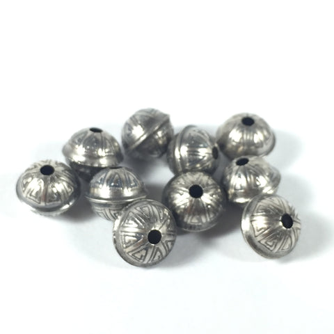 Sterling beads, oxidized beads, stamped tribal beads, seamed beads, 7 mm with 1.5 mm hole, 10 pack, naive style - Romazone