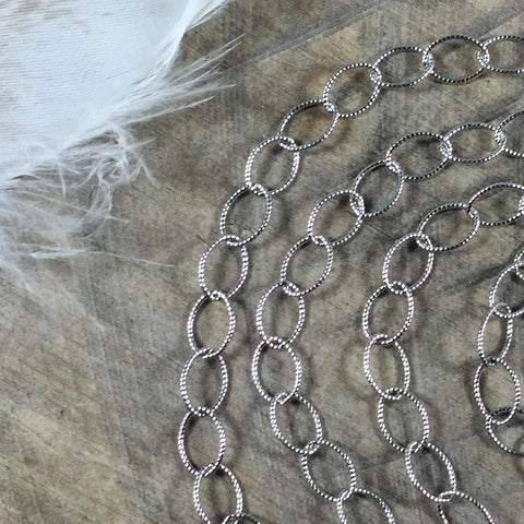 Cable chain, sterling silver Oxidized, stamped links, USA MADE, Southwest tribal style chain, by the foot, link 8mm X 5mm - Romazone