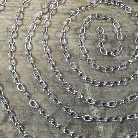 Cable chain, 2x3mm link, sold by foot,  oxidized Oval chain, USA MADE, stamped cable chain, Sterling silver, southwest chain, - Romazone