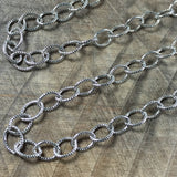 Cable chain, Oxidized silver, stamped chain, 6 x 5 mm, Oval chain, Made in the USA, 1 ft length, southwest jewelry - Romazone