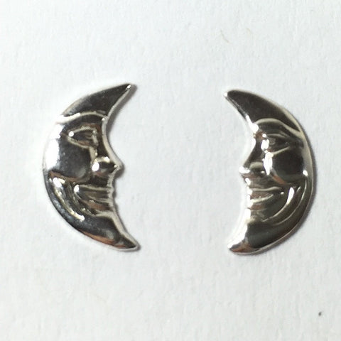 moon face charm, small moon faces, right left moons, crescent moon charms, 8 pairs, small 11 mm x 5 mm, 24 gauge Sterling - Romazone