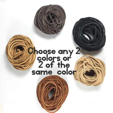 suede cording 3/32 or 2mm, choose from 5 colors, Bracelet leather, necklace leather, Soft supple 25 ft each, choose 2 bundles. tribal jewelry - Romazone