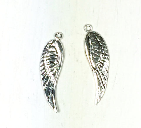 Wing Charm, Angel-wing, 2 pack, sterling silver, 2 sided, 27 mm x 7 mm, with loop