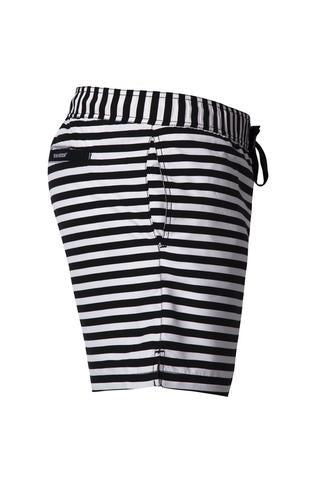 Black & White Stripe Swim Shorts - Adult
