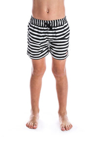 Black & White Stripe Swim Short - Kids