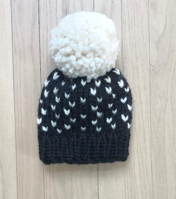 Pom Beanie - Black & White Hearts