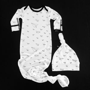 Newborn Gown + Hat Set - Paper Airplanes