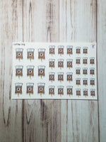 Coffee IV drips, handrawn planner stickers
