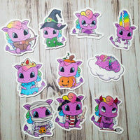 Reign the dragon, hand drawn character, die cuts