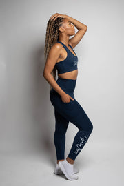 navy blue sportsbra and leggings