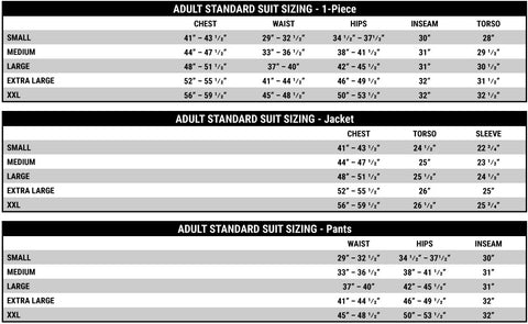 Impact Racing Suit Size Chart